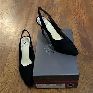 NWT Vince Camuto black suede sling back heels